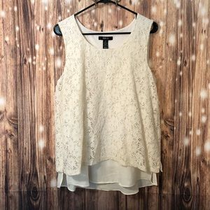 White Lace Overlay Tank Top